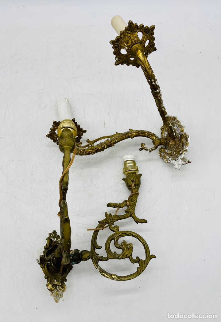 DOS APLIQUES DE BRONCE (Antigüedades - Iluminación - Apliques Antiguos)
