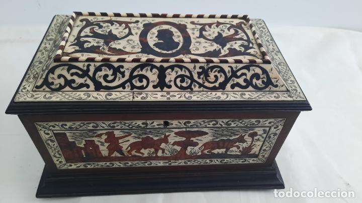 Antigüedades: magnifica caja de siglo xix con taracea marqueteria carey , finisimo trabajo con certificado - Foto 3 - 276439363
