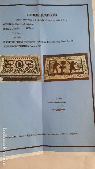 Antigüedades: magnifica caja de siglo xix con taracea marqueteria carey , finisimo trabajo con certificado - Foto 5 - 276439363