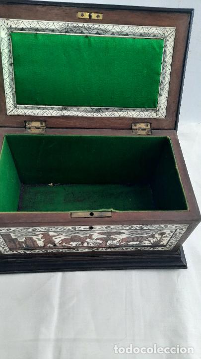 Antigüedades: magnifica caja de siglo xix con taracea marqueteria carey , finisimo trabajo con certificado - Foto 6 - 276439363