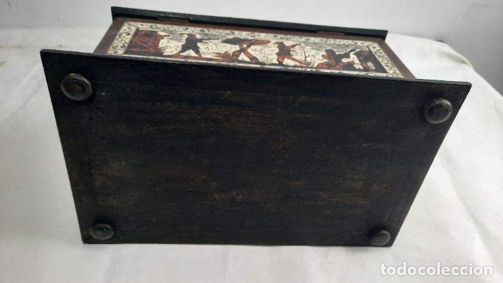 Antigüedades: magnifica caja de siglo xix con taracea marqueteria carey , finisimo trabajo con certificado - Foto 7 - 276439363