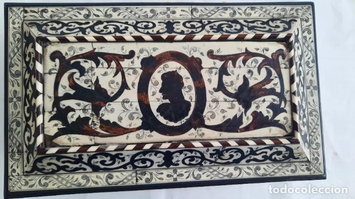Antigüedades: magnifica caja de siglo xix con taracea marqueteria carey , finisimo trabajo con certificado - Foto 11 - 276439363