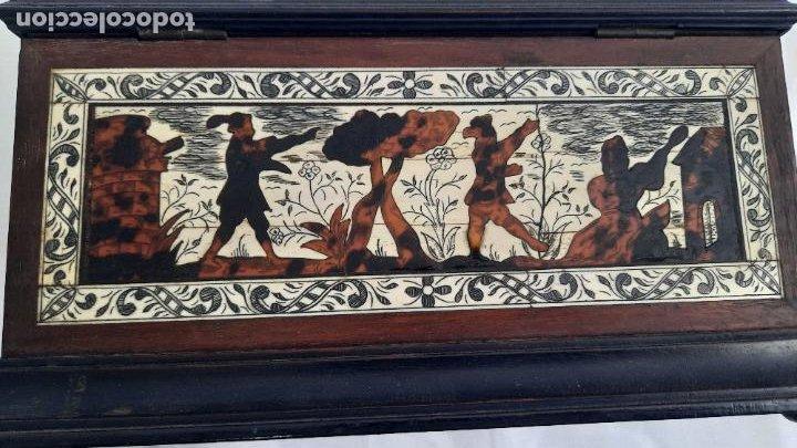 Antigüedades: magnifica caja de siglo xix con taracea marqueteria carey , finisimo trabajo con certificado - Foto 13 - 276439363