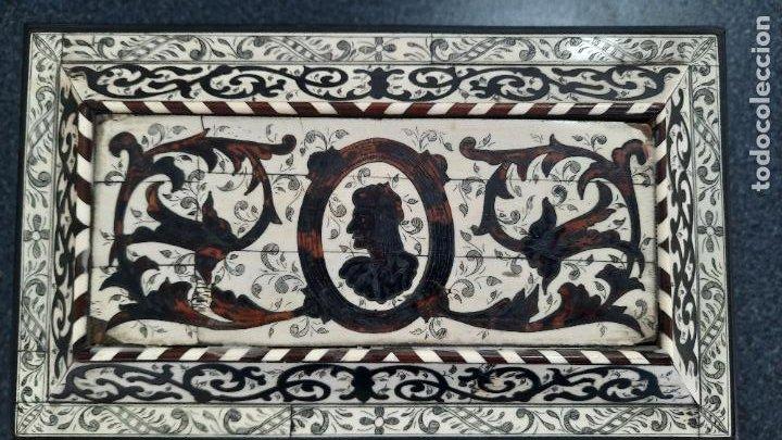 Antigüedades: magnifica caja de siglo xix con taracea marqueteria carey , finisimo trabajo con certificado - Foto 18 - 276439363