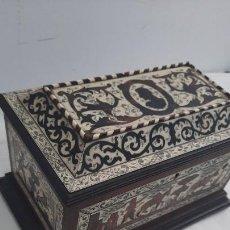 Antigüedades: MAGNIFICA CAJA DE SIGLO XIX CON TARACEA MARQUETERIA CAREY , FINISIMO TRABAJO CON CERTIFICADO. Lote 276439363