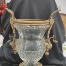 Antigüedades: COPA FRANCESA CRITAL BACCARAT Y BRONCE DORADO SIGLO XIX. Lote 276449958