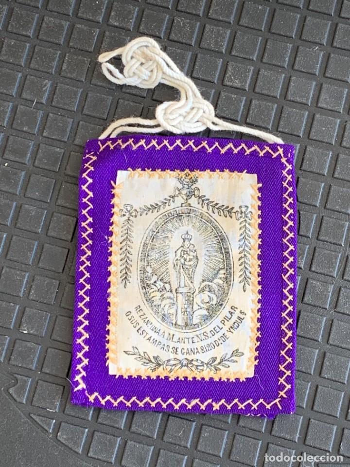 ESCAPULARIO ESTAMPADO VIRGEN DEL PILAR S XIX 9X7,5CMS (Antigüedades - Religiosas - Escapularios Antiguos)