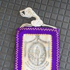 Antigüedades: ESCAPULARIO ESTAMPADO VIRGEN DEL PILAR S XIX 9X7,5CMS. Lote 276455803