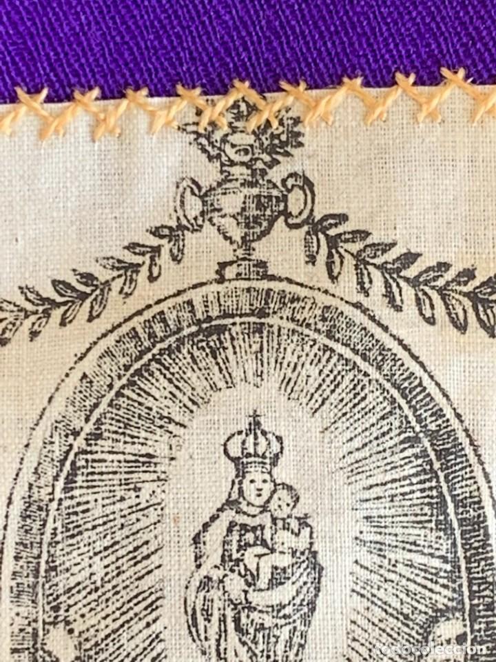 Antigüedades: ESCAPULARIO ESTAMPADO VIRGEN DEL PILAR S XIX 9X7,5CMS - Foto 5 - 276455803