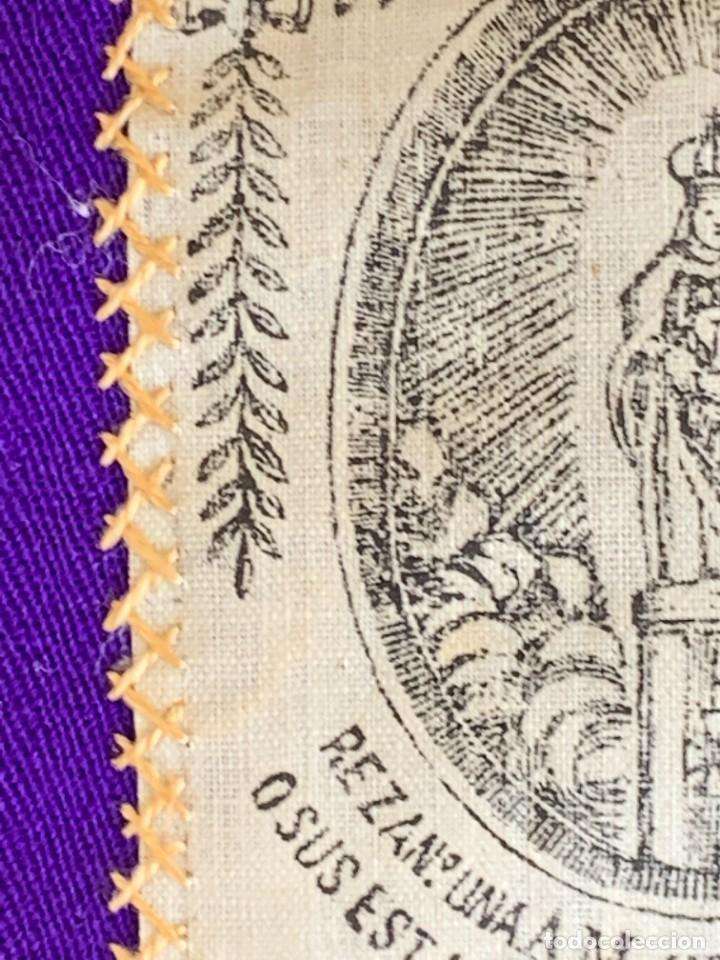 Antigüedades: ESCAPULARIO ESTAMPADO VIRGEN DEL PILAR S XIX 9X7,5CMS - Foto 6 - 276455803