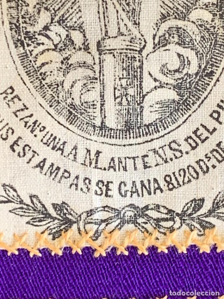 Antigüedades: ESCAPULARIO ESTAMPADO VIRGEN DEL PILAR S XIX 9X7,5CMS - Foto 7 - 276455803