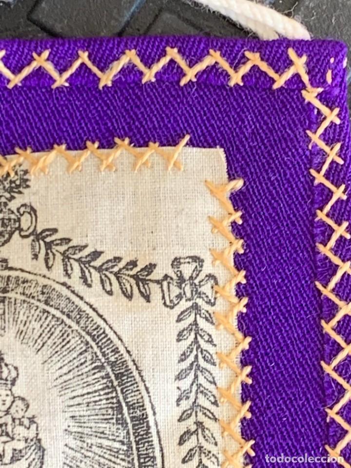 Antigüedades: ESCAPULARIO ESTAMPADO VIRGEN DEL PILAR S XIX 9X7,5CMS - Foto 9 - 276455803