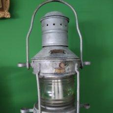 Antigüedades: FAROL DE BARCO FABRICADO EN HAMBURGO ALEMANIA , AÑOS CUARENTA DE GRAN TAMAÑO. Lote 276458188