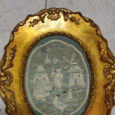 Antigüedades: CUADRO DORADO CON ANTIGUO PAÑO BORDADO, 25 X 20. Lote 276496748
