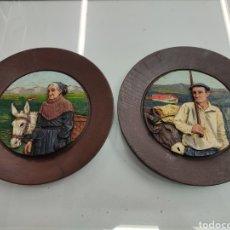 Antigüedades: ANTIGUA PAREJA BASERRITARRAK PAIS VASCO EN MADERA TALLADA Y POLICROMADA EUSKADI BASQUE. Lote 276529383