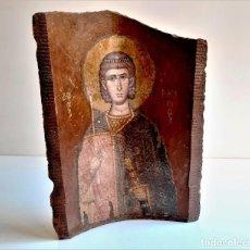 Oggetti Antichi: ILUSTRACION GRABADO MOTIVO RELIGIOSO SOBRE TEJA BARRO - 25 X 18.CM APROX. Lote 276554013