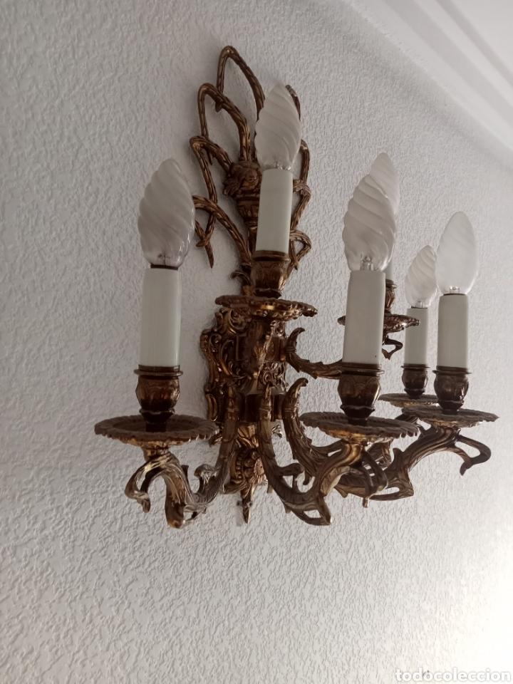 Antigüedades: ANTIGUA APLIQUE DE BRONCE - Foto 3 - 276569803