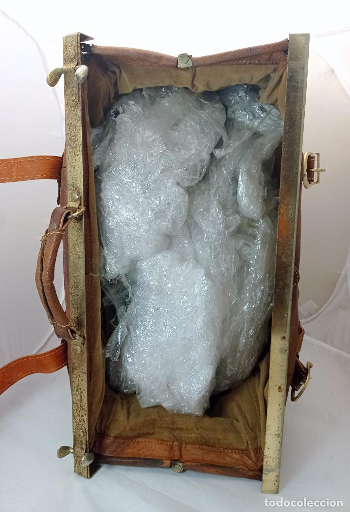 Antigüedades: Antigua maleta Bolso de Viaje en piel . Maletín tipo médico doctor - Foto 5 - 276569813