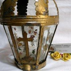 Antigüedades: ANTIGUO FAROL PROCESIONAL, DECORADO A MANO. DE ÉPOCA.. Lote 276576218