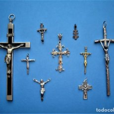 Antigüedades: LOTE COLECCIÓN DE CRUCIFIJOS ANTIGUOS,CRISTO,PLATA.. Lote 276620543