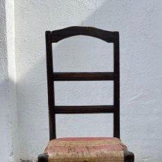 Antigüedades: SILLA MADERA ROBLE S XVII POPULAR FRANCIA TAPIZADA TELA 105X46X38CMS. Lote 276631928