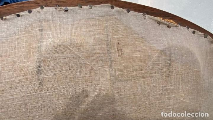 Antigüedades: BUTACA FRANCESA MADERA CAOBA RESTAURACION LUIS FELIPE PALMETAS TAPIZADA TERCIOPELO S XIX 91X57X47CMS - Foto 18 - 276633548