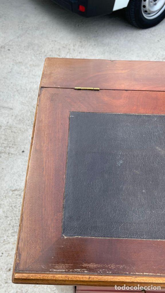 Antigüedades: PEQUEÑO MUEBLE AUXILIAR CARTONNIER CAJONERA MADERA CAOBA ESCRITORIO PIEL S XIX 115X58X37CMS - Foto 18 - 276634228