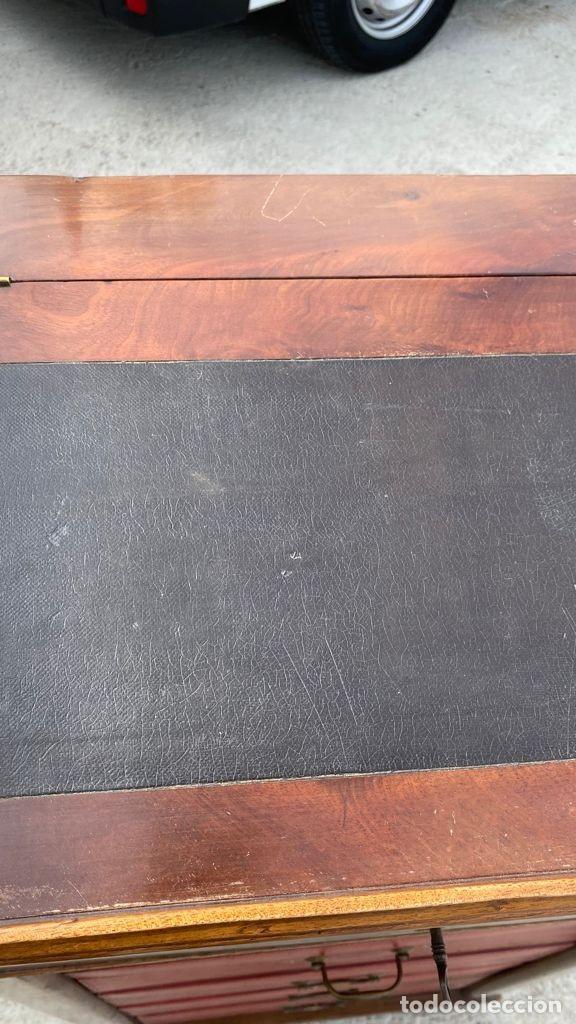 Antigüedades: PEQUEÑO MUEBLE AUXILIAR CARTONNIER CAJONERA MADERA CAOBA ESCRITORIO PIEL S XIX 115X58X37CMS - Foto 22 - 276634228