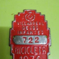 Antigüedades: MATRÍCULA DE BICICLETA VILLARREAL 1976. Lote 276637783