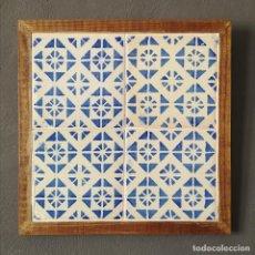 Antigüedades: ANTIGUO PANEL DE 4 AZULEJOS VALENCIANOS PINTADOS A MANO DISEÑO GEOMETRICO PRINCIPIOS S XX. Lote 276644303