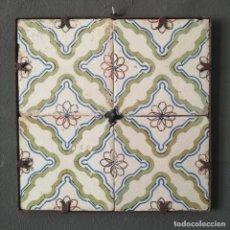 Antiquités: ANTIGUO PANEL DE 4 AZULEJOS VALENCIANOS PINTADOS A MANO EN MARCO DE HIERRO BLANCO Y VERDE S XVIII. Lote 276648288