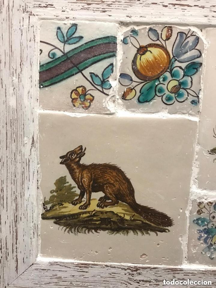 Antigüedades: Azulejos Alcora y Manises S. XVIII-XIX enmarcados con marco moderno - Foto 2 - 276688528