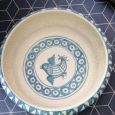 Antigüedades: CENTRO DE MESA CERAMICA FIRMA MANUEL BENLLOCH BELTRAN MANISES VALENCIA AÑOS 60 DIAMETRO 27X7CMS ALTO. Lote 276700953