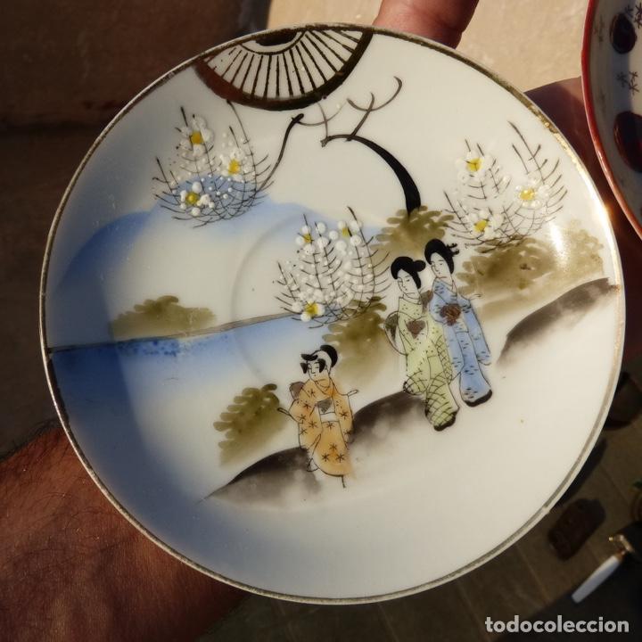 Antigüedades: Par de platos de porcelana , china , con sello , 13,8 cm - Foto 2 - 276742128
