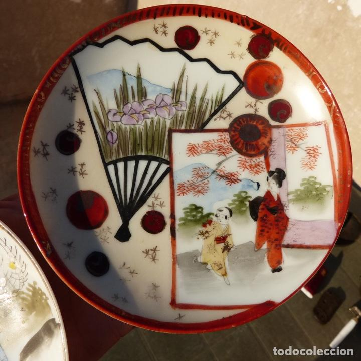 Antigüedades: Par de platos de porcelana , china , con sello , 13,8 cm - Foto 3 - 276742128