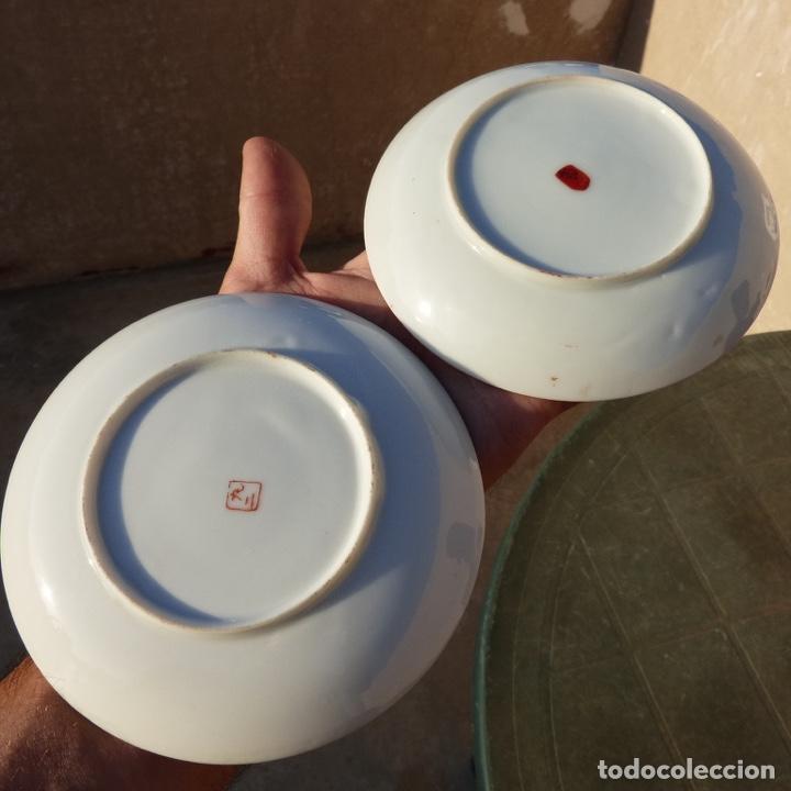 Antigüedades: Par de platos de porcelana , china , con sello , 13,8 cm - Foto 4 - 276742128