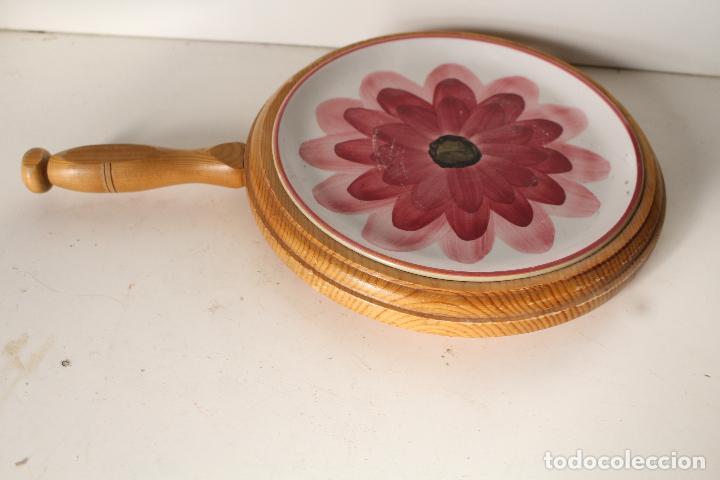 Antigüedades: posaplato madera y ceramica - Foto 3 - 276773863