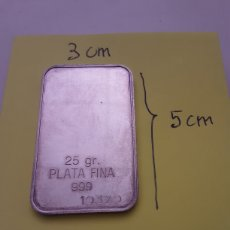 Antigüedades: LINGOTE DE PLATA FINA 999. Lote 276775223