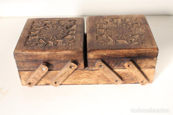 Antigüedades: costurero de madera tallada - Foto 2 - 276778143