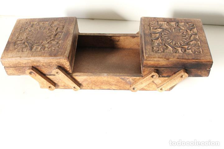 Antigüedades: costurero de madera tallada - Foto 3 - 276778143
