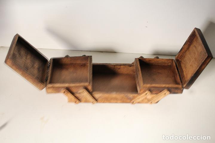 Antigüedades: costurero de madera tallada - Foto 5 - 276778143