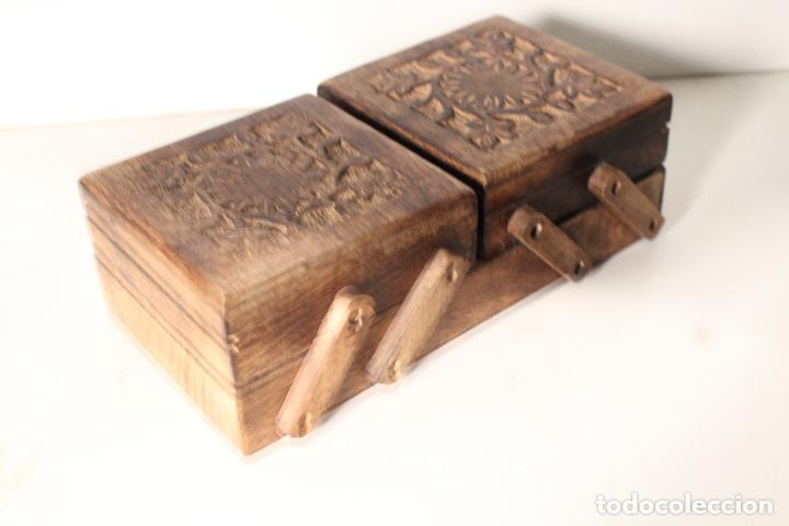 Antigüedades: costurero de madera tallada - Foto 6 - 276778143