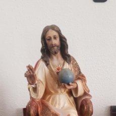 Antigüedades: SAGRADO CORAZÓN DE JESÚS 42CM OLOT CORAZÓN DE JESÚS. Lote 276778958