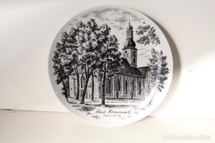 Antigüedades: plato Iglesia de Pauluskirche de Bad Kreuznach en el río de Nahe alemania - Foto 3 - 276781453