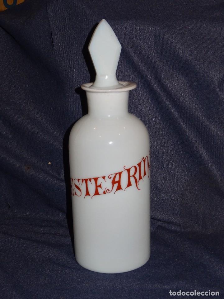 (M) ALBARELO BOTE DE FARMACIA DE OPALINA FINALES S.XIX - ESTEARINA , 30 CM (Antigüedades - Cristal y Vidrio - Farmacia )