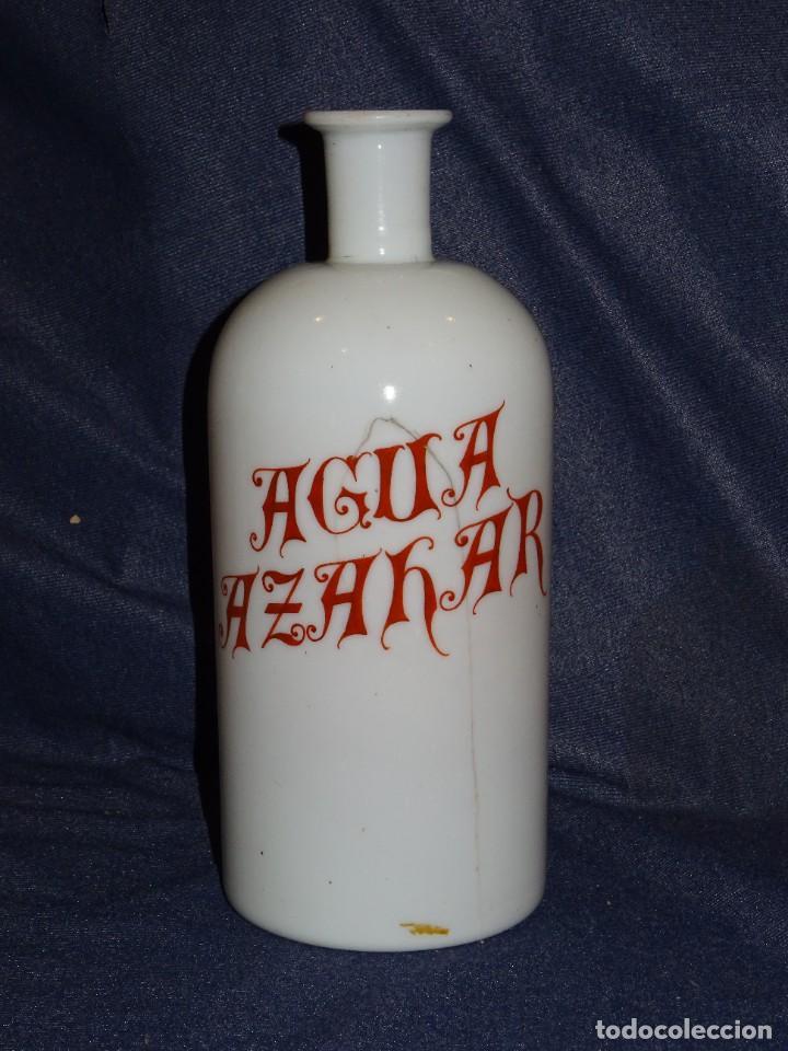 (M) ALBARELO BOTE DE FARMACIA DE OPALINA FINALES S.XIX - AGUA AZAHAR , 24 CM (Antigüedades - Cristal y Vidrio - Farmacia )