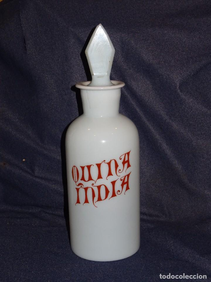 (M) ALBARELO BOTE DE FARMACIA DE OPALINA FINALES S.XIX - QUINA INDIA , 30 CM (Antigüedades - Cristal y Vidrio - Farmacia )