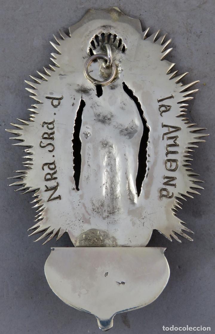 Antigüedades: Benditera de plata Nuestra Señora de la Almudena principios del siglo XX - Foto 6 - 276804238