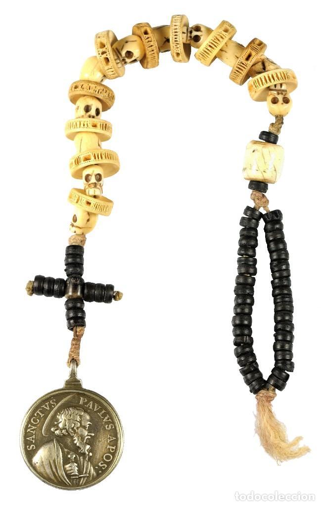 Antigüedades: Rosario DECENARIO. Medalla plata S. PEDRO - S. PABLO. Cuentas MEMENTO MORI. S.XVII. Colección RARO - Foto 2 - 276771168