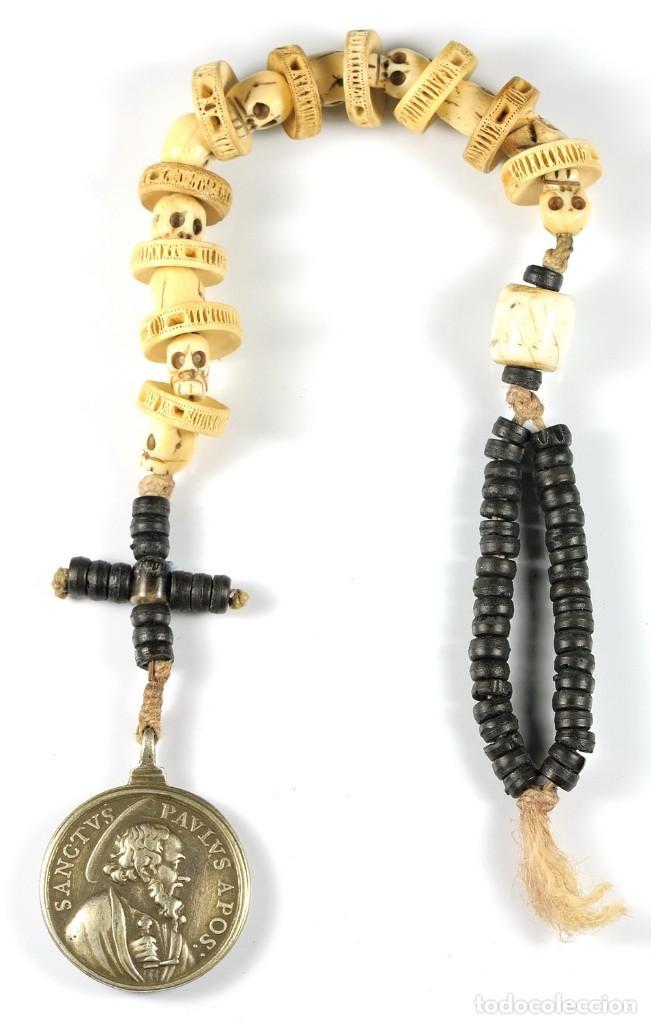 ROSARIO DECENARIO. MEDALLA PLATA S. PEDRO - S. PABLO. CUENTAS MEMENTO MORI. S.XVII. COLECCIÓN RARO (Antigüedades - Religiosas - Rosarios Antiguos)